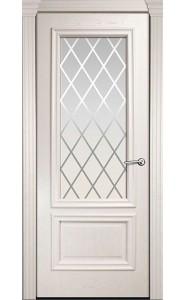 Дверь Мильяна Бристоль Премиум Ясень жемчуг стекло Готика