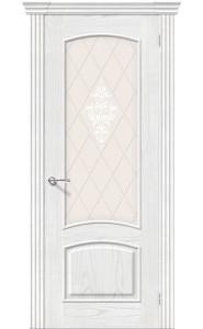 Межкомнатная дверь Амальфи, со стеклом, цвет Жемчуг