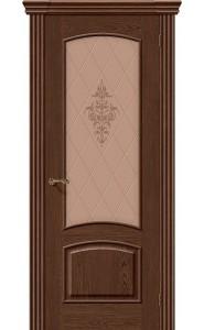 Межкомнатная дверь Амальфи, со стеклом, цвет Виски