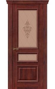Межкомнатная дверь Вена, со стеклом, цвет Красное Дерево