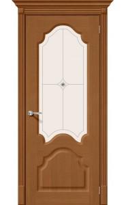 Межкомнатная дверь Афина, со стеклом, цвет Орех