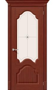Межкомнатная дверь Афина, со стеклом, цвет Макоре