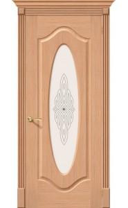 Межкомнатная дверь Аура, со стеклом, цвет Дуб