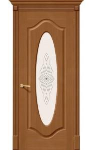 Межкомнатная дверь Аура, со стеклом, цвет Орех