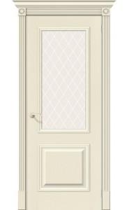 Межкомнатная дверь Вуд Классик-13, со стеклом, цвет Ivory