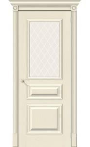 Межкомнатная дверь Вуд Классик-15.1, со стеклом, цвет Ivory