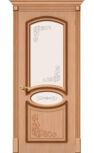 Межкомнатная дверь Азалия, со стеклом, цвет Дуб
