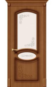 Межкомнатная дверь Азалия, со стеклом, цвет Орех