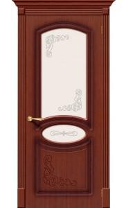 Межкомнатная дверь Азалия, со стеклом, цвет Макоре