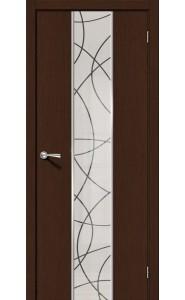 Межкомнатная дверь Карат, со стеклом, цвет Венге