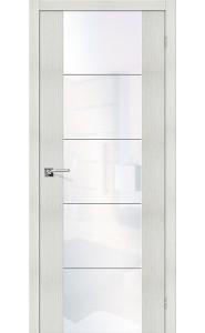 Межкомнатная дверь V4 WW, со стеклом, цвет Bianco Veralinga