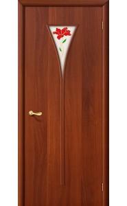 Межкомнатная дверь 3П, со стеклом, цвет ИталОрех