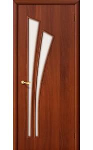 Межкомнатная дверь 4С, со стеклом, цвет ИталОрех