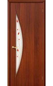 Межкомнатная дверь 5П, со стеклом, цвет ИталОрех