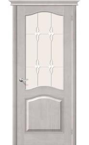 Межкомнатная дверь М7, со стеклом, цвет Белый Воск