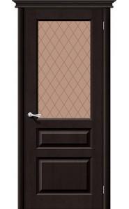 Межкомнатная дверь М5, со стеклом, цвет Темный Лак