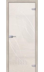 Межкомнатная дверь Аврора, со стеклом, цвет Белое Сатинато