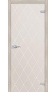 Межкомнатная дверь Кристалл, со стеклом, цвет Белое Сатинато