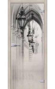 Межкомнатная дверь Аркада Люкс, со стеклом, цвет Белое Сатинато