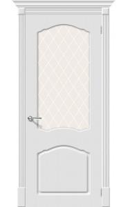 Межкомнатная дверь Скинни-31, со стеклом, цвет Whitey