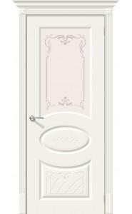 Межкомнатная дверь Скинни-21 Аrt, со стеклом, цвет Whitey