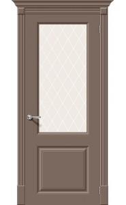 Межкомнатная дверь Скинни-13, со стеклом, цвет Mocca