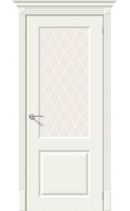 Межкомнатная дверь Скинни-13, со стеклом, цвет Whitey