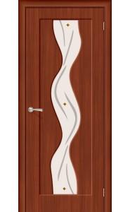 Межкомнатная дверь Вираж Плюс, со стеклом, цвет ИталОрех