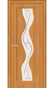 Межкомнатная дверь Вираж Плюс, со стеклом, цвет МиланОрех