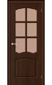 Межкомнатная дверь Альфа, со стеклом, цвет Венге