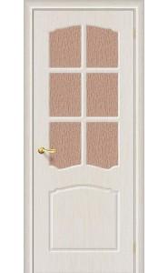 Межкомнатная дверь Альфа, со стеклом, цвет БелДуб