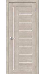 Межкомнатная дверь Браво-29, со стеклом, цвет Cappuccino
