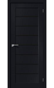 Межкомнатная дверь Браво-22, со стеклом, цвет Black Mix