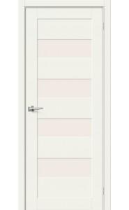 Межкомнатная дверь Браво-23, со стеклом, цвет White Mix