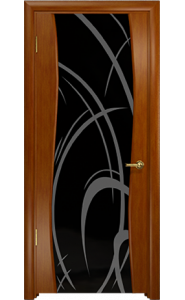 Дверь Арт Деко Вэла темный анегри ДО черный триплекс рисунок