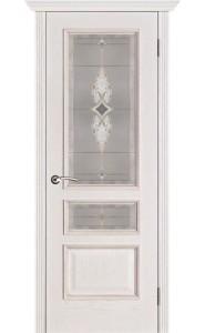 Дверь Вист Вена Белая патина стекло Витраж