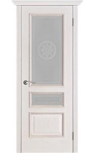 Дверь Вист Вена Белая патина стекло Версачи