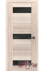 Дверь ВФД Лайн 5 Л5ПГ1 Капучино стекло Черное
