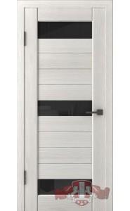 Дверь ВФД Лайн 5 Л5ПГ5 Беленый дуб стекло Черное