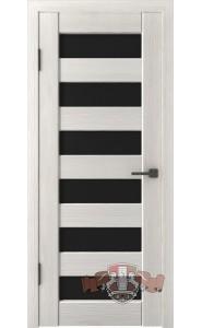 Дверь ВФД Лайн 7 Л7ПГ5 Беленый дуб Черное стекло