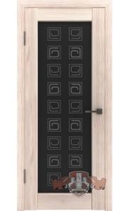 Дверь ВФД Лайн 8 Л8ПО1 Капучино Стекло черный квадрат