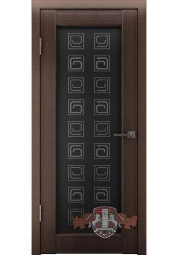 Дверь ВФД Лайн 8 Л8ПО4 Венге Стекло черный квадрат