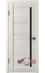 Дверь ВФД Лайн 9 Л9ПГ5 Беленый дуб Черное стекло