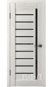 Дверь ВФД Лайн 11 Л11ПГ5 Беленый дуб Черное стекло