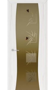 Дверь Океан Буревестник-2 Бабочки Ясень белый жемчуг Стекло тонированное