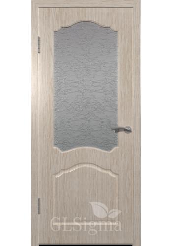 Дверь ВФД Сигма 32 Беленый дуб стекло Альфа белое рифлен