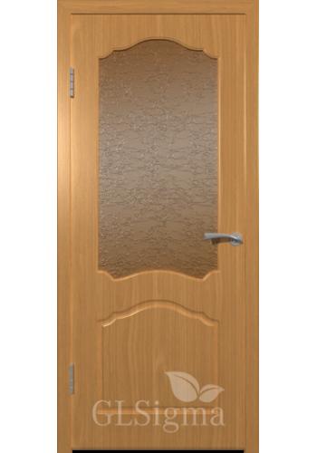 Дверь ВФД Сигма 32 Миланский орех стекло Альфа дельта-бронза рифлен
