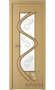 Дверь Крона Вега Дуб стекло матовое с рисунком