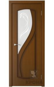 Дверь Крона Венера Орех стекло матовое с рисунком