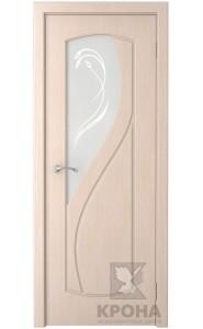 Дверь Крона Венера Беленый дуб стекло матовое с рисунком